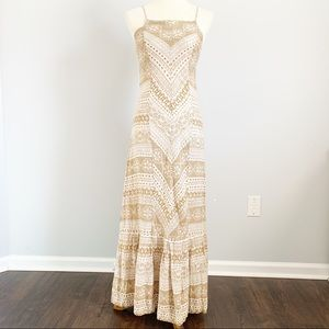 ANTHRO Farm Rio Linen Blend Beige Maxi Dress